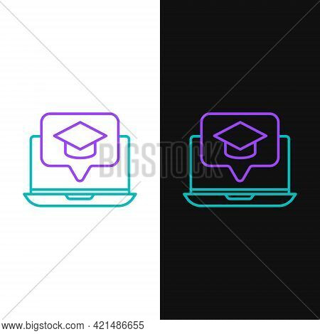 Line Graduation Cap On Screen Laptop Icon Isolated On White And Black Background. Online Learning Or