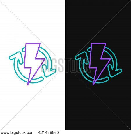 Line Recharging Icon Isolated On White And Black Background. Electric Energy Sign. Colorful Outline