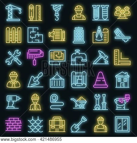 Contractor Icons Set. Outline Set Of Contractor Vector Icons Neon Color On Black