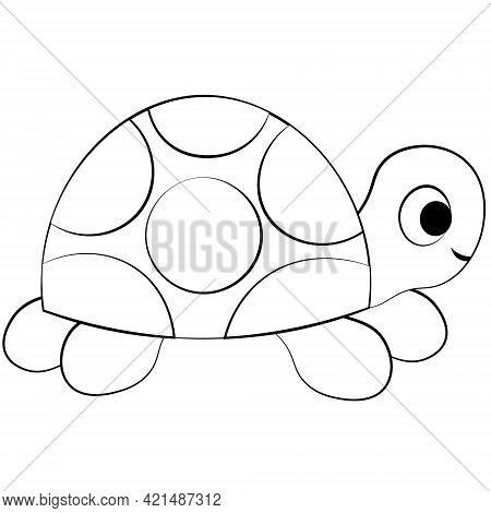 Cute Cartoon Turtle. Draw Illustration In Black And White