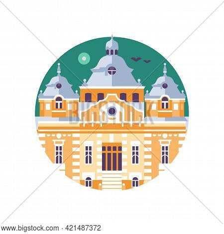 Hungary Thermal Bath Building Icon In Flat