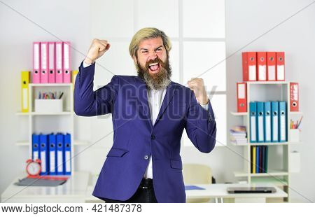 Handsome Man Standing Express Happiness. Portrait Of Businessman Standing In Office. Professional Bu