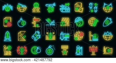 Trade War Icons Set. Outline Set Of Trade War Vector Icons Neon Color On Black