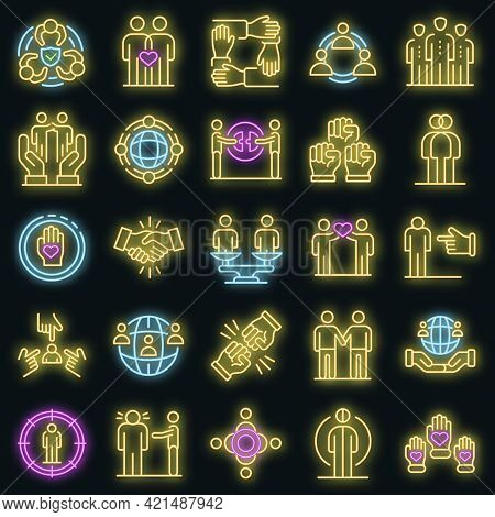 Racism Icons Set. Outline Set Of Racism Vector Icons Neon Color On Black