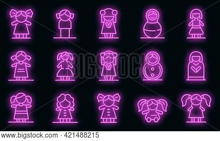 Doll Icons Set. Outline Set Of Doll Vector Icons Neon Color On Black