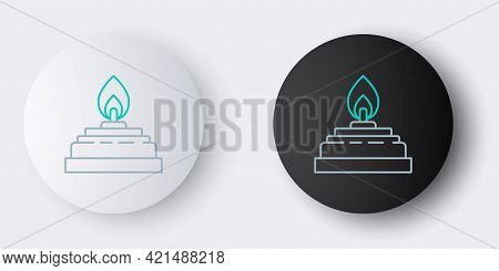Line Alcohol Or Spirit Burner Icon Isolated On Grey Background. Chemical Equipment. Colorful Outline