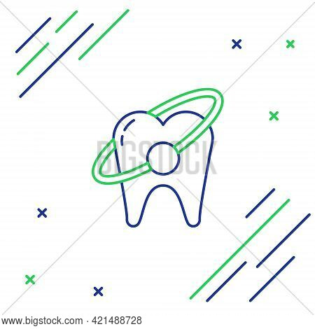 Line Tooth Whitening Concept Icon Isolated On White Background. Tooth Symbol For Dentistry Clinic Or