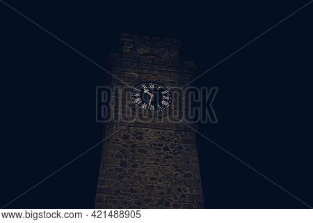 Clocktower At Galle Fort In The Darkness Of The Night