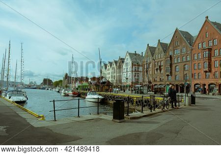 Bergen, Norway - 24th May, 2017: Colourful And Historical Trading Posts Or Buildings At The Bryggen