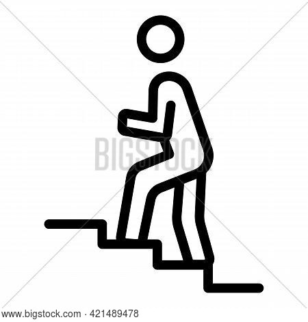 Man Up Stairs Icon. Outline Man Up Stairs Vector Icon For Web Design Isolated On White Background