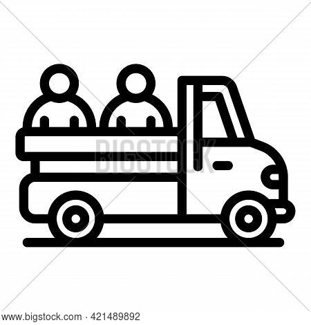 Car People Evacuation Icon. Outline Car People Evacuation Vector Icon For Web Design Isolated On Whi