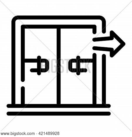 Evacuation Pull Doors Icon. Outline Evacuation Pull Doors Vector Icon For Web Design Isolated On Whi