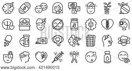 Antidepressant Icons Set. Outline Set Of Antidepressant Vector Icons For Web Design Isolated On Whit