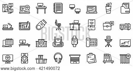Smart Office Space Icons Set. Outline Set Of Smart Office Space Vector Icons For Web Design Isolated