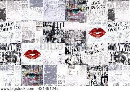 Newspaper Paper Grunge Newsprint Patchwork Pattern Horizontal Background. Trendy Pieces Of Newspaper