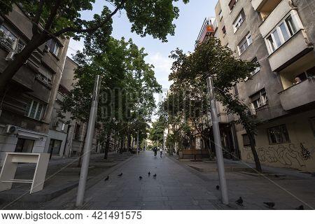 Belgrade, Serbia - May 24, 2020: Empty And Halft Deserted Street Of Toplicin Venac In The Pedestrian