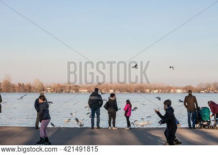 Belgrade, Serbia - February 21, 2021: Serbian Family, Father, Mother And Children, Feeding Birds And
