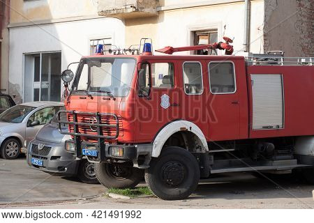 Mladenovac, Serbia - March 28, 2021: Serbian Firetruck From The Vatrogasci, The Official Fire Brigad