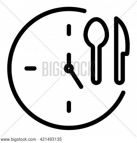 Lunch Time Icon. Outline Lunch Time Vector Icon For Web Design Isolated On White Background