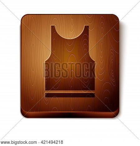 Brown Sleeveless T-shirt Icon Isolated On White Background. Wooden Square Button. Vector Illustratio