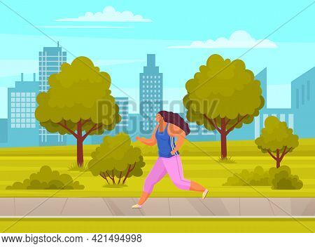 Young Woman In Sports Wear Running Or Jogging In City Park Summer Day. Workout Excercise. Runner Fat