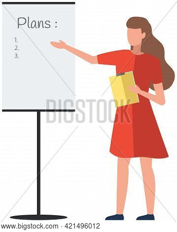 Month Planning Or To Do List Concept. Task Scheduling, Work Process Organization. Girl In Dress Poin