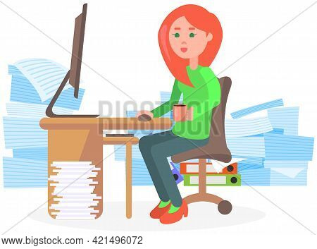 Busy Businesswoman Stressed Due To Excessive Paperwork. Female Employee Performs Work With Documents