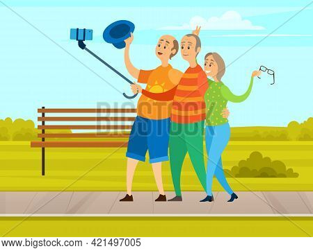 Elderly Friends Holding Mobile Phone And Taking Pictures. Aged Persons Smiling And Posing For Photo