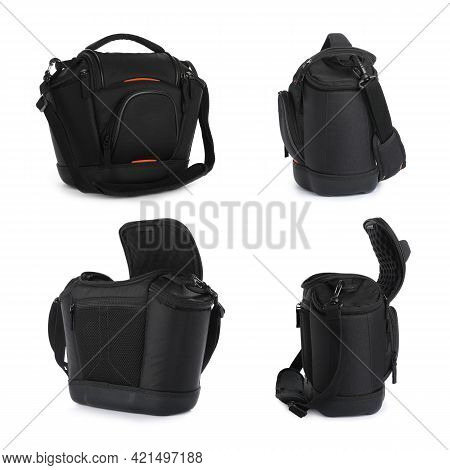Set With Bags For Camera On White. Professional  Photographer's Accessory