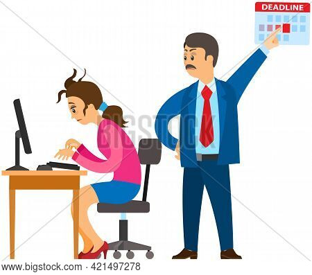 Business Lady Works At Computer In Office To Finish Task Before Deadline. Boss Urges Employee To Com
