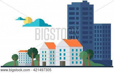 Landscape With Skyscrapers And Small Houses. Modern Downtown, Business Center Concept. Green Trees I