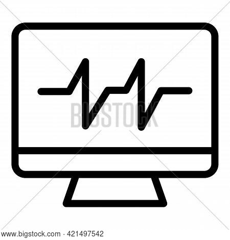 Heartbeat Monitor Icon. Outline Heartbeat Monitor Vector Icon For Web Design Isolated On White Backg