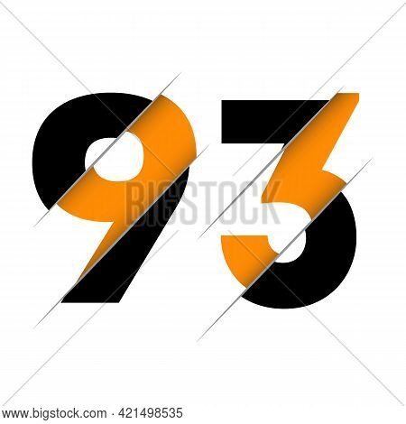 93 9 3 Number Logo Design With A Creative Cut And Black Circle Background. Creative Logo Design.