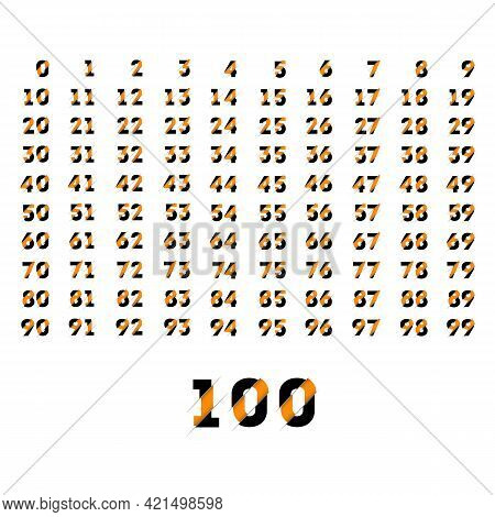 Folded Paper Set For Cut Design Numbers From Zero To Hundred With Whitebackground, Vector Illustrati