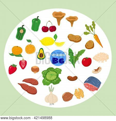 Set Of Vitamin B6 Origin Natural Sources. Healthy Diary Food Meat, Vegetable, Egg, Nuts, Fish, Beetr