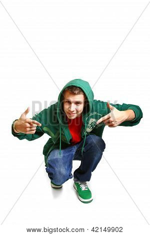 Portrait Of Cool Hip Hop Style Dancer Posing Isolated On White Background