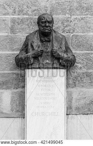 Prague, Czech Republic - April 17, 2020: Winston Churchill Bust In Thunovska Street In Prague. Sir W