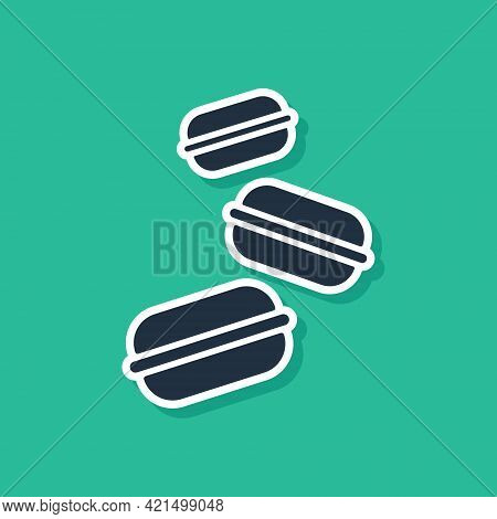 Blue Macaron Cookie Icon Isolated On Green Background. Macaroon Sweet Bakery. Vector