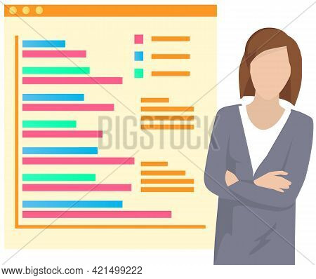 Woman Submits Progress Report Standing Next To Big Board Pointing On Charts And Graphs. Girl Present