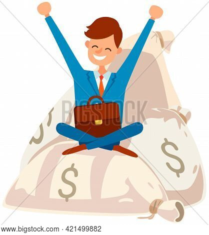 Happy Businessman Is Sitting On Pile Of Money Bags With Briefcase. Business Success Concept. Income