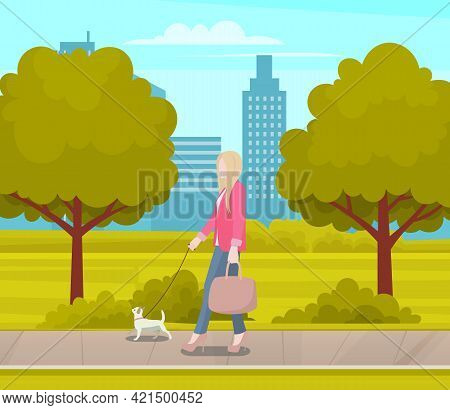 Business Woman With Small White Dog Is Walking On Street. Female Character Stylish Girl Spends Time