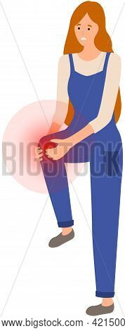 Girl With Sad Face Suffering From Knee Pain. Painful Sensations In Leg Joint. Woman Holding Her Sore