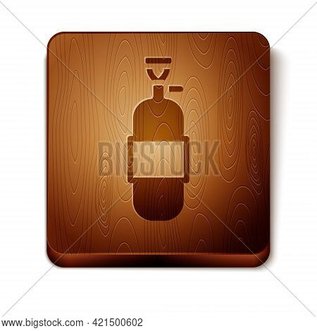 Brown Propane Gas Tank Icon Isolated On White Background. Flammable Gas Tank Icon. Wooden Square But