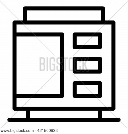 Coins Vending Machine Icon. Outline Coins Vending Machine Vector Icon For Web Design Isolated On Whi