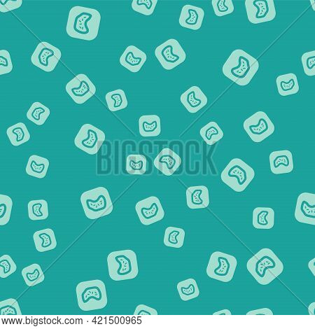 Green Bacteria Icon Isolated Seamless Pattern On Green Background. Bacteria And Germs, Microorganism