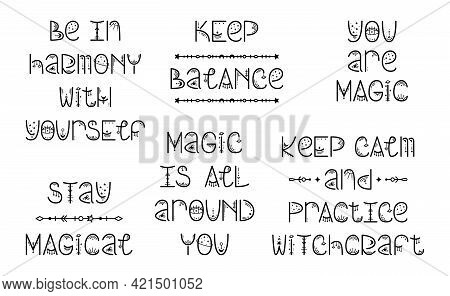 The Set Of Mystery Astrological Phrases. Magical Lettering