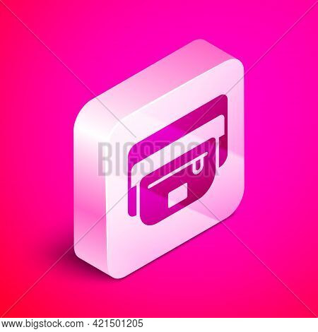 Isometric Waist Bag Of Banana Icon Isolated On Pink Background. Silver Square Button. Vector