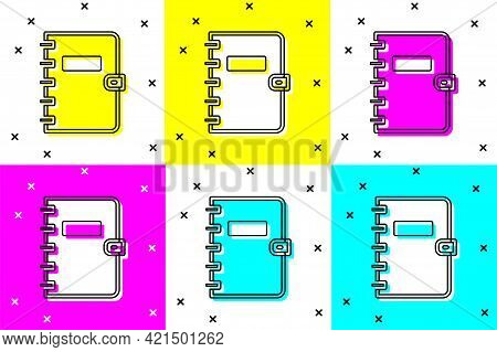 Set Notebook Icon Isolated On Color Background. Spiral Notepad Icon. School Notebook. Writing Pad. D