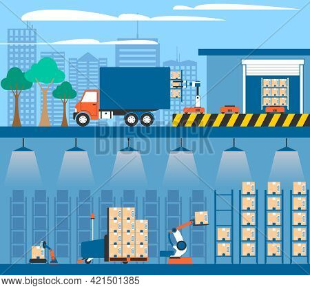 Warehouse Facilities And Equipment For Storing And Shipment Cargo 2 Flat Banners Composition Abstrac
