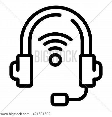 Wireless Headphones Icon. Outline Wireless Headphones Vector Icon For Web Design Isolated On White B
